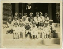 Image of Group of 18 children posed on steps - John Martin Smith Miscellaneous Collection