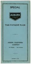 Image of Payment Plan Brochure for Auburn Automobiles - John Martin Smith Miscellaneous Collection