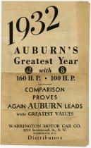Image of 1932 Auburn Automobile Flyer - John Martin Smith Miscellaneous Collection