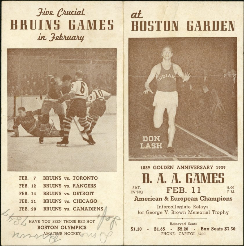 1939 Boston Garden Schedule of Events featuring Don Lash