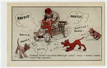Image of Cartoon drawn postcard joke about Fords - John Martin Smith Miscellaneous Collection