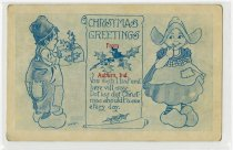 Image of Christmas greeting postcard with a drawing a Dutch boy and girl - John Martin Smith Miscellaneous Collection