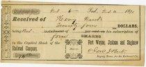 Image of Fort Wayne, Jackson & Saginaw Railroad Stock Purchase Receipt - John Martin Smith Miscellaneous Collection
