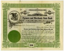 Image of Farmers and Merchants State Bank Stock Certificate - John Martin Smith Miscellaneous Collection