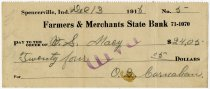 Image of Farmers and Merchants State Bank Check - John Martin Smith Miscellaneous Collection