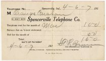 Image of Spencerville Telephone Company Bill - John Martin Smith Miscellaneous Collection