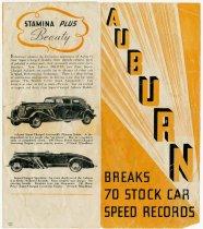 Image of Auburn Breaks 70 Stock Car Speed Records - John Martin Smith Miscellaneous Collection