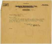 Image of Auburn Automobile Co.  Notice of error to Straus Bros. Co.; dated January 30, 1912 - John Martin Smith Miscellaneous Collection