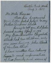 Image of Letter to Milo J. Thomas from Emma Gardner.   - John Martin Smith Miscellaneous Collection