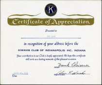 Image of Certificate of Appreciation from the Kiwanis Club of Indianapolis, Indiana, awarded to Don Lash - Extraordinary Hoosiers: Don Lash Collection