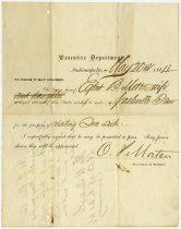 Image of Certificate Requesting Passage for Egbert Mott and Wife - Extraordinary Hoosiers: John Martin Smith Collection