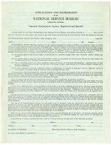 Image of National Service Bureau Membership Application. - John Martin Smith Miscellaneous Collection