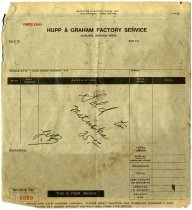 Image of Hupp and Graham Factory Service Invoice 6699 - John Martin Smith Indiana Imprints Collection