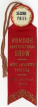 Image of 2016.02.09 - This is a second-prize ribbon awarded to Don Lash at the Purdue Horticultural Show held in West Lafayette, Indiana, on November 14, 15, and 16, 1930.