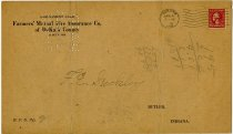 Image of Farmers' Mutual Fire Insurance Co. Assessment Card. - John Martin Smith Miscellaneous Collection