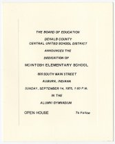 Image of 1975 Invitation to McIntosh Elementary School Dedication, DeKalb County, Indiana - John Martin Smith Miscellaneous Collection