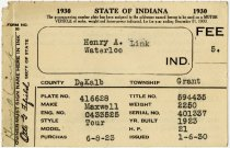 Image of 1930 Vehicle Registration - John Martin Smith Miscellaneous Collection