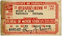 Image of 1940 Operator's License - John Martin Smith Miscellaneous Collection