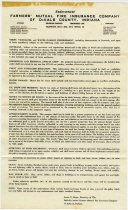 Image of Farmers' Mutual Fire Insurance Co. Endorsement - John Martin Smith Miscellaneous Collection