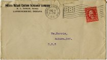 Image of An Indiana Mutual Cyclone Insurance Company Envelope. - John Martin Smith Miscellaneous Collection