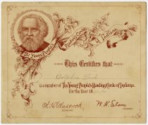 Image of Young People's Reading Circle of Indiana Certificate, DeKalb County, Indiana - John Martin Smith Miscellaneous Collection