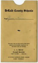 Image of Report Card Holder for DeKalb County Schools, DeKalb County, Indiana - John Martin Smith Miscellaneous Collection