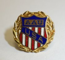 Image of 2014.12.06 - This is a pin shaped like a gold wreath with the red, white, and blue AAU shield in the center.
