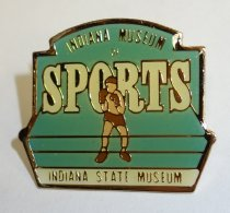 "Image of 2014.12.06 - This is a green pin with an image of a boxer in the center. The text on the pin reads: ""Indiana Museum of Sports"" and ""Indiana State Museum""."