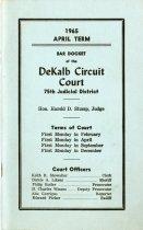 Image of April 1965 DeKalb Circuit Court Bar Docket. - John Martin Smith Miscellaneous Collection