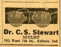 Image of Newspaper Ad for Dr. C. S. Stewart, Oculist. - John Martin Smith Miscellaneous Collection