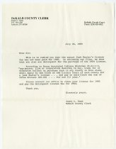 Image of Letter from the DeKalb County Clerk's Office. - John Martin Smith Miscellaneous Collection