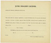 Image of Junk Dealer's License Application. - John Martin Smith Miscellaneous Collection