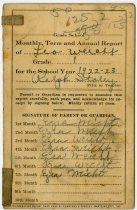 Image of Report Card for Wilmington Center School, DeKalb County, Indiana - John Martin Smith Miscellaneous Collection
