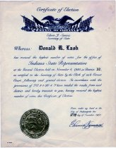 Image of 1980 Certificate of Election to the State House of Representatives Awarded to Donald R. Lash - Extraordinary Hoosiers: Don Lash Collection