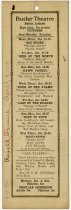 Image of Butler Theatre Movie Schedule and Personal Observations. - John Martin Smith Miscellaneous Collection