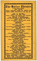Image of Butler Theatre Movie Schedule. - John Martin Smith Miscellaneous Collection