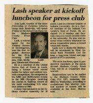 Image of Article regarding Lash speaking engagement - Extraordinary Hoosiers: Don Lash Collection