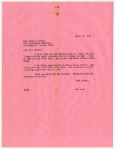 Image of Letter from Lash to Margaret Muller - Extraordinary Hoosiers: Don Lash Collection