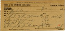 Image of 1926 Receipt for L. H. Snider Apiaries, Auburn, DeKalb County, Indiana - John Martin Smith Miscellaneous Collection