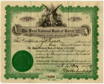 Image of The First National Bank Stock Certificate. - John Martin Smith Miscellaneous Collection