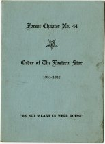 Image of Officers and Meetings of the Order of the Eastern Star Forest Chapter. - John Martin Smith Miscellaneous Collection