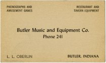 Image of Calling Card for L. L. Oberlin of Butler Music & Equipment. - John Martin Smith Miscellaneous Collection
