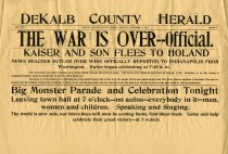 Image of DeKalb County Herald Announces the End of WWI. - John Martin Smith Miscellaneous Collection