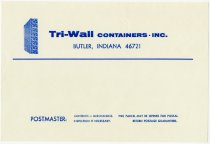 Image of Tri-wall Shipping Container Label. - John Martin Smith Miscellaneous Collection