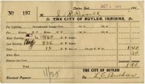 Image of City of Butler, IN. Electric Bill Receipt. - John Martin Smith Miscellaneous Collection