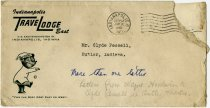 Image of Indianapolis Travel Lodge Envelope Addressed to Mr. Clyde Pessell of Butler, IN. - John Martin Smith Miscellaneous Collection