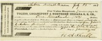 Image of 1863 Promissory Note for the Toledo, Logansport and Northern Indiana Railroad Company, DeKalb County, Indiana - John Martin Smith Miscellaneous Collection
