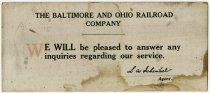 Image of Baltimore & Ohio Railroad Company Ink Blotter, DeKalb County, Indiana - John Martin Smith Miscellaneous Collection