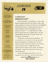 Image of Auburn Collector Car Auction 1979 Press Release  - Jack Randinelli ACD Collection
