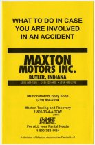 Image of Maxton Motors of Butler, IN. Advertising. - John Martin Smith Miscellaneous Collection
